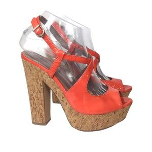 Vince Camuto Leather Deville Cork Platforms 7.5